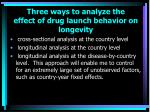 three ways to analyze the effect of drug launch behavior on longevity