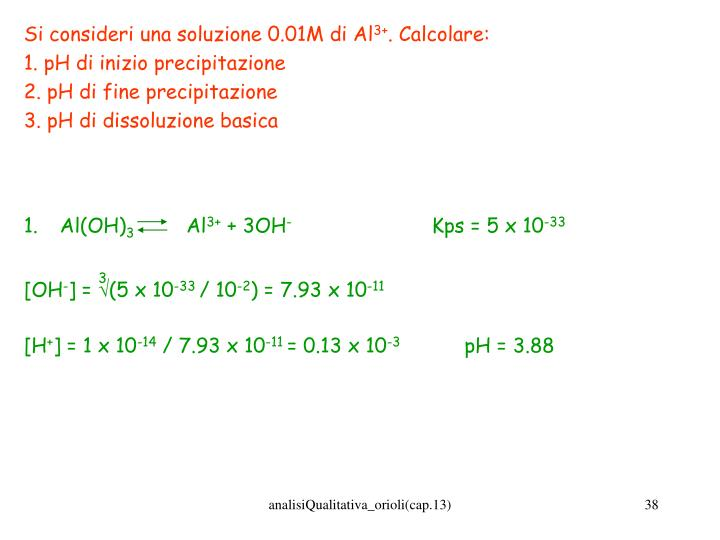 Si consideri una soluzione 0.01M di Al
