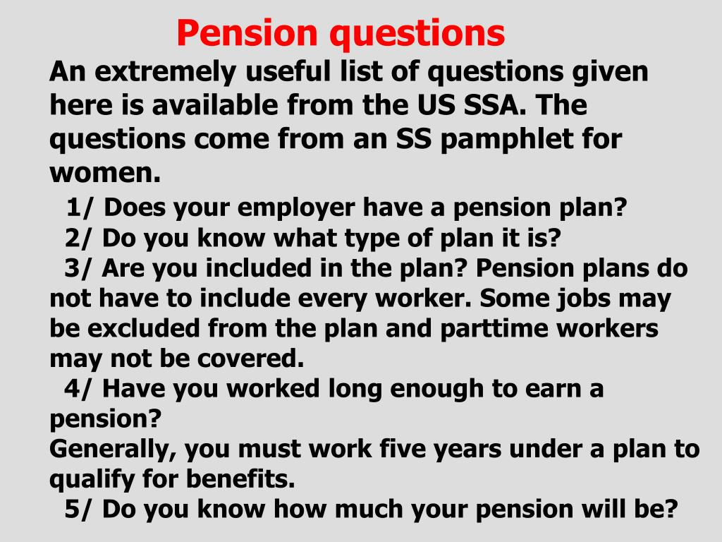 Pension questions