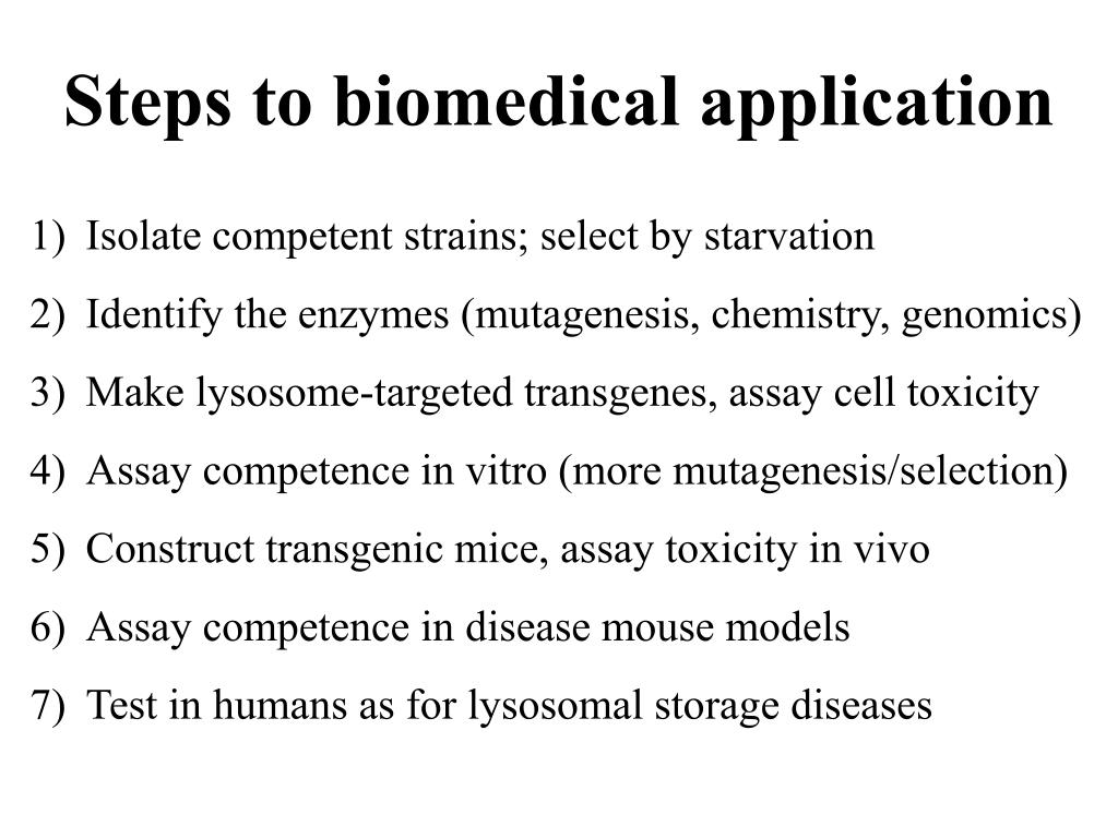 Steps to biomedical application