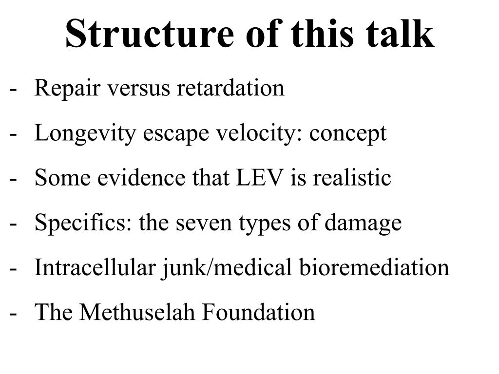Structure of this talk