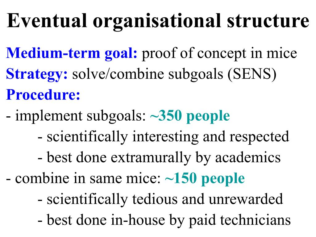 Eventual organisational structure