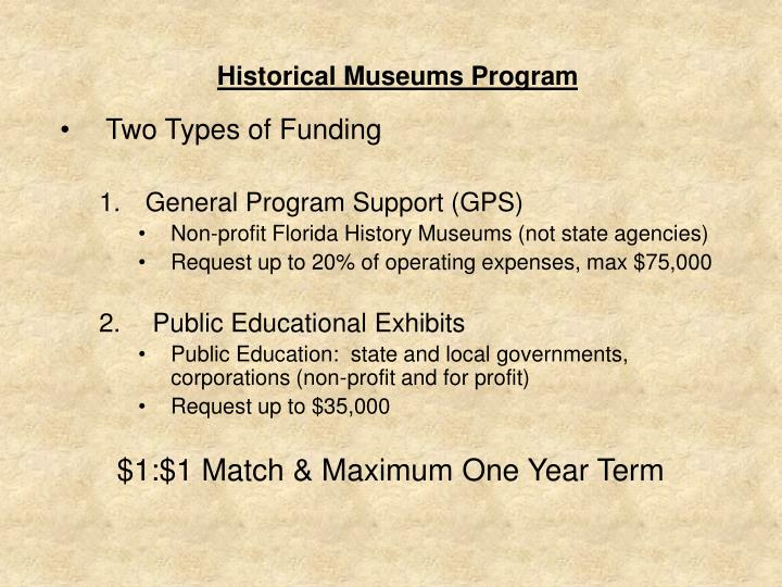 Historical Museums Program