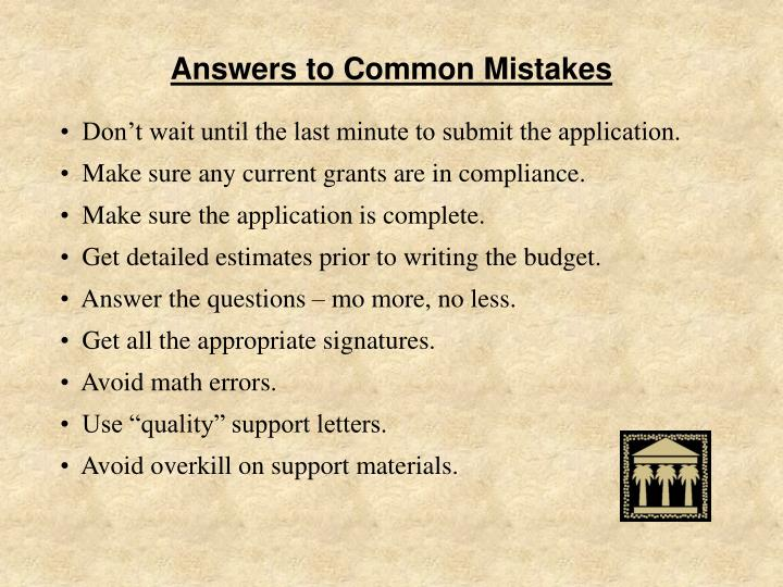 Answers to Common Mistakes