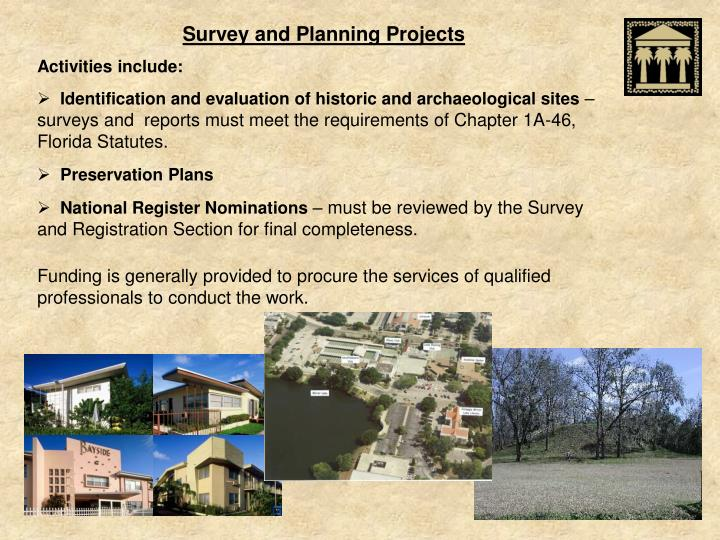 Survey and Planning Projects