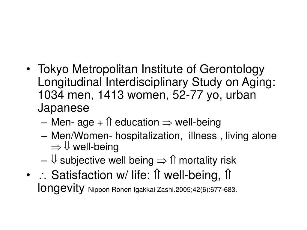 Tokyo Metropolitan Institute of Gerontology Longitudinal Interdisciplinary Study on Aging: 1034 men, 1413 women, 52-77 yo, urban Japanese