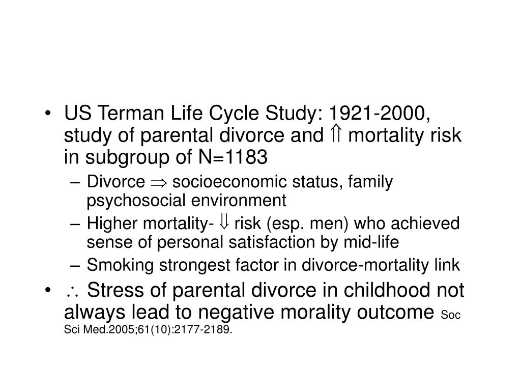 US Terman Life Cycle Study: 1921-2000, study of parental divorce and