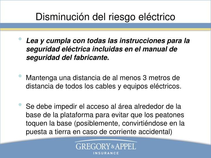 Disminución del riesgo eléctrico