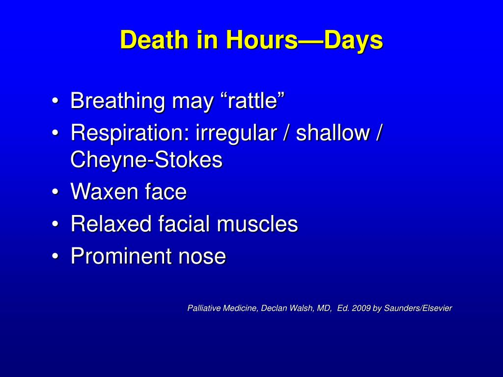 Death in Hours—Days
