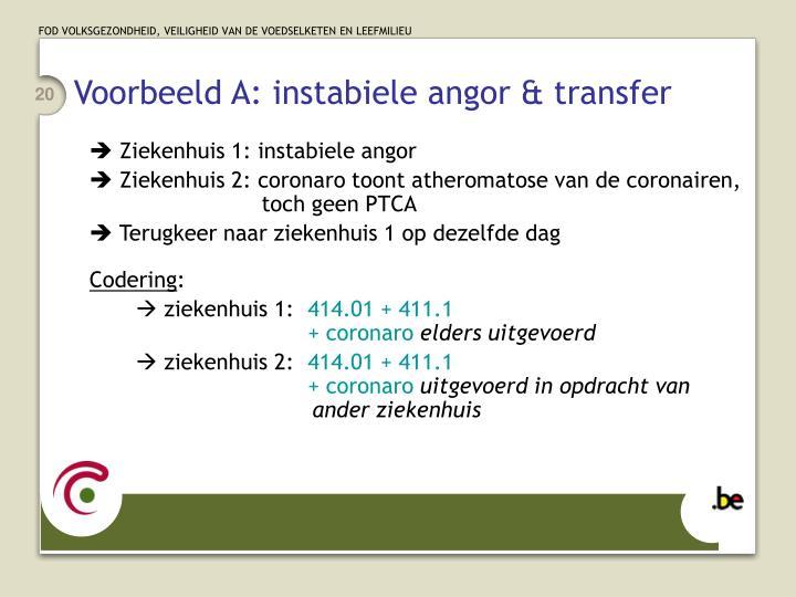 Voorbeeld A: instabiele angor & transfer