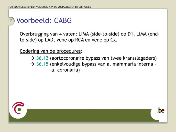 Voorbeeld: CABG