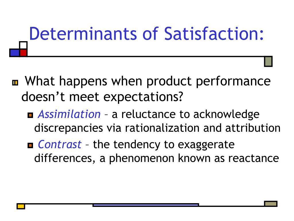 Determinants of Satisfaction: