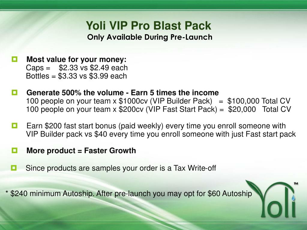 Yoli VIP Pro Blast Pack