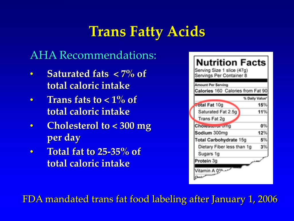 Saturated fats  < 7% of total caloric intake
