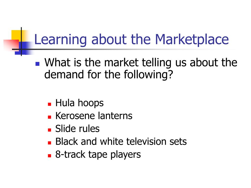 Learning about the Marketplace