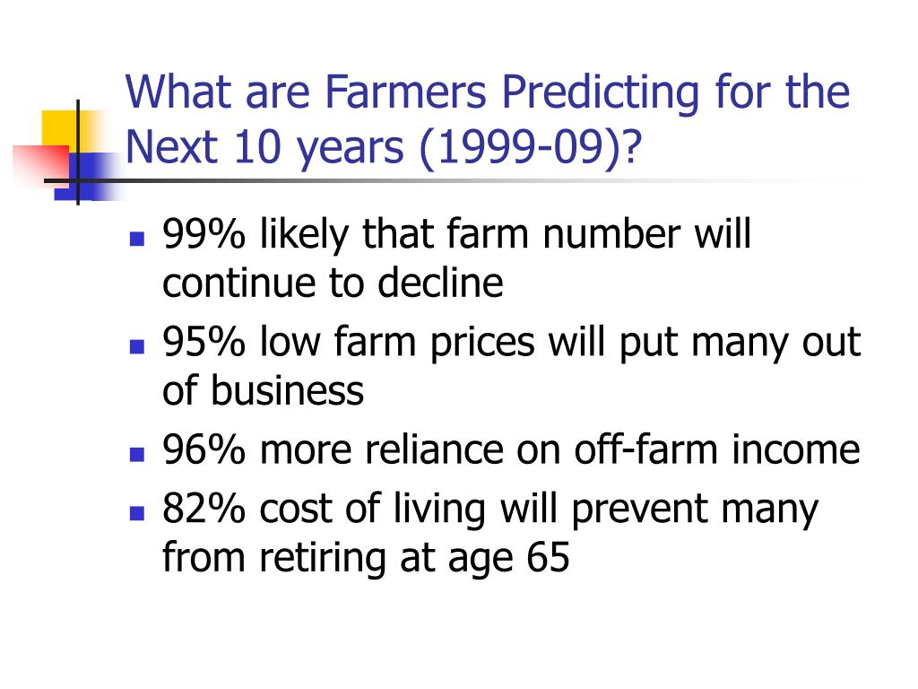 What are Farmers Predicting for the Next 10 years (1999-09)?