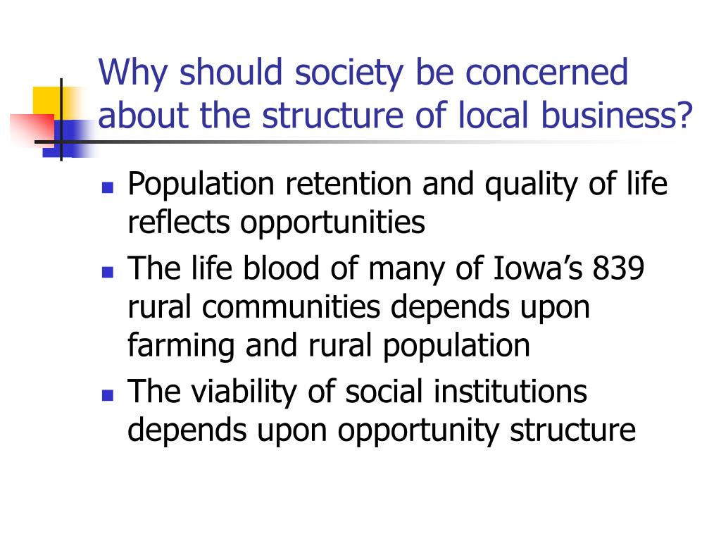 Why should society be concerned about the structure of local business?