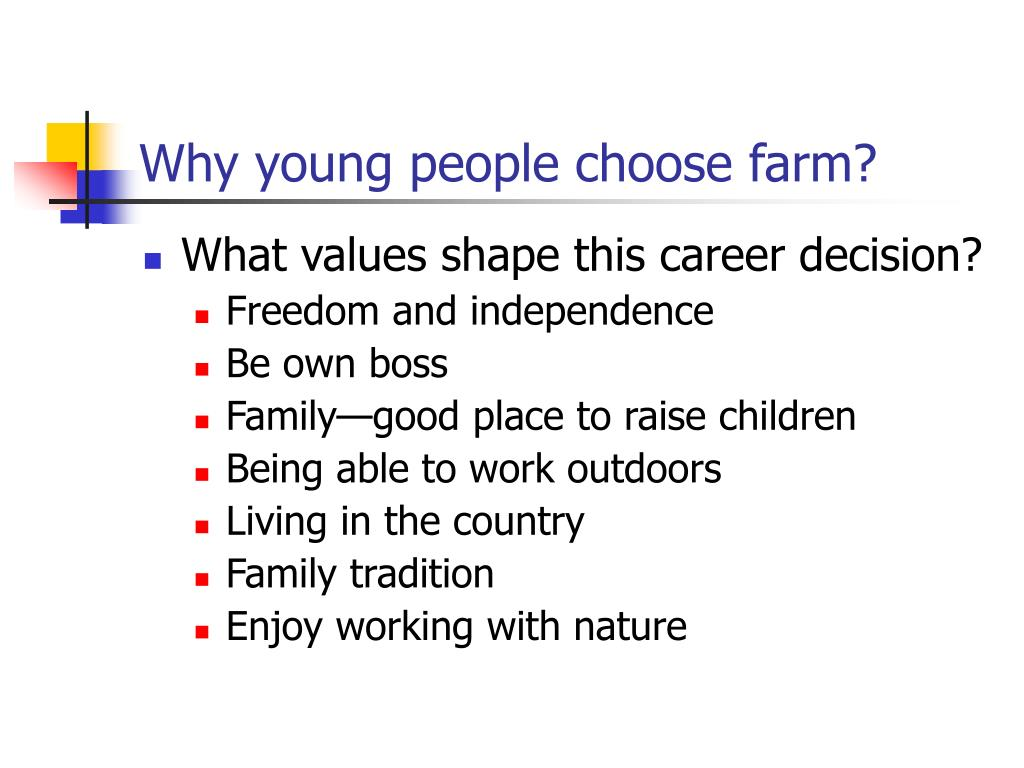 Why young people choose farm?