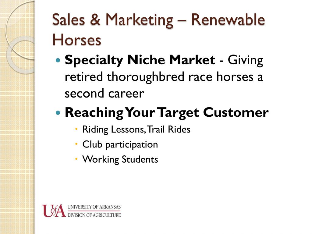 Sales & Marketing – Renewable Horses