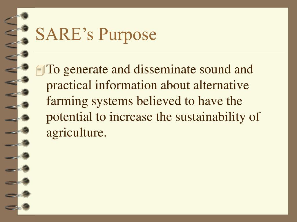 SARE's Purpose