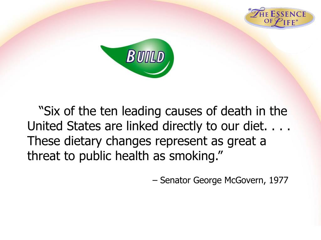 """Six of the ten leading causes of death in the United States are linked directly to our diet. . . . These dietary changes represent as great a threat to public health as smoking."""