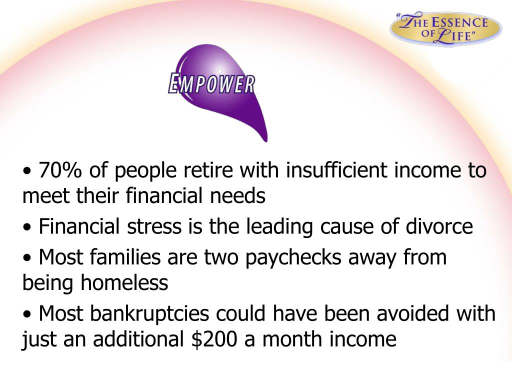 70% of people retire with insufficient income to meet their financial needs