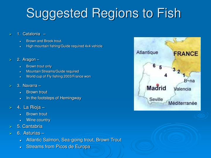 Suggested regions to fish