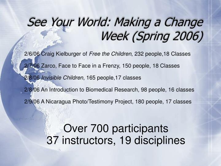 See Your World: Making a Change Week (Spring 2006)