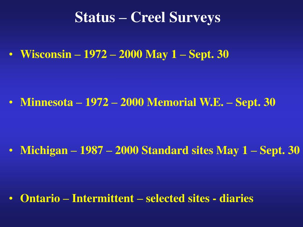 Status – Creel Surveys