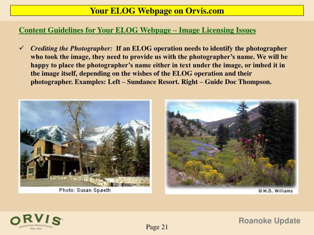 Content Guidelines for Your ELOG Webpage – Image Licensing Issues