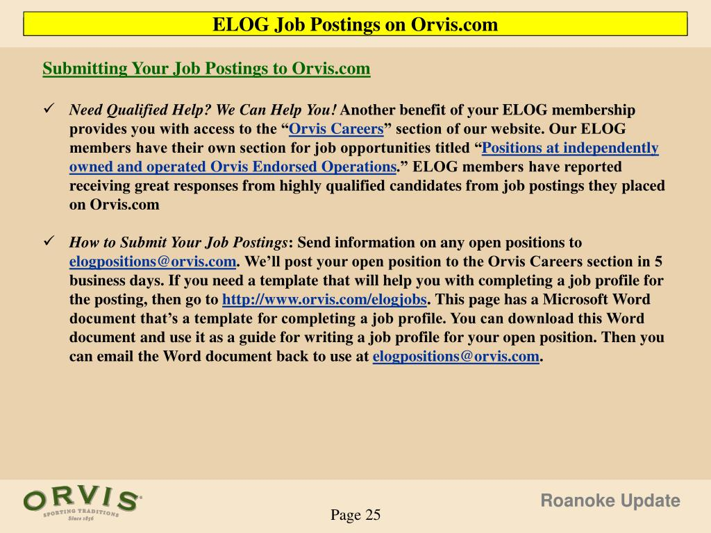 Submitting Your Job Postings to Orvis.com