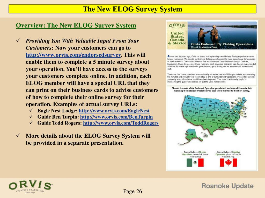 Overview: The New ELOG Survey System
