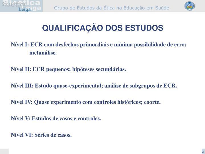 Nível I: ECR com desfechos primordiais e mínima possibilidade de erro;