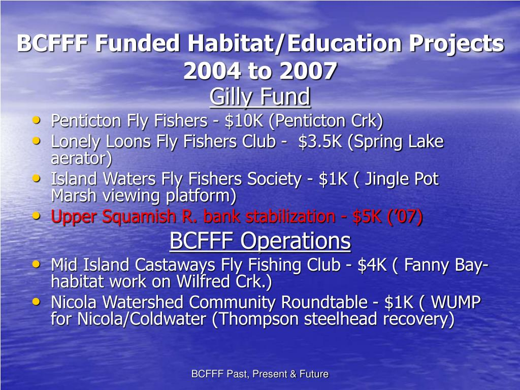 BCFFF Funded Habitat/Education Projects 2004 to 2007