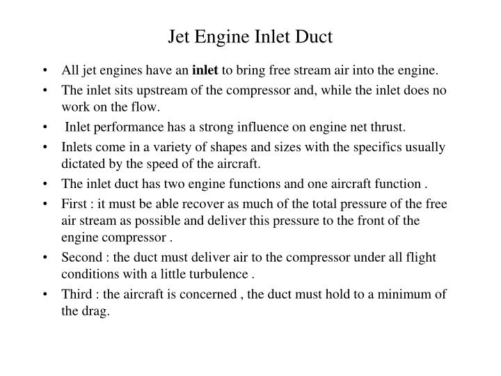 Jet Engine Inlet Duct