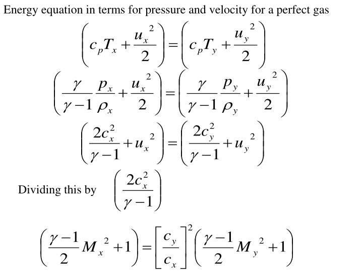 Energy equation in terms for pressure and velocity for a perfect gas