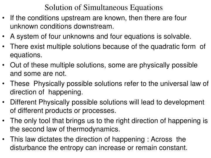 Solution of Simultaneous Equations