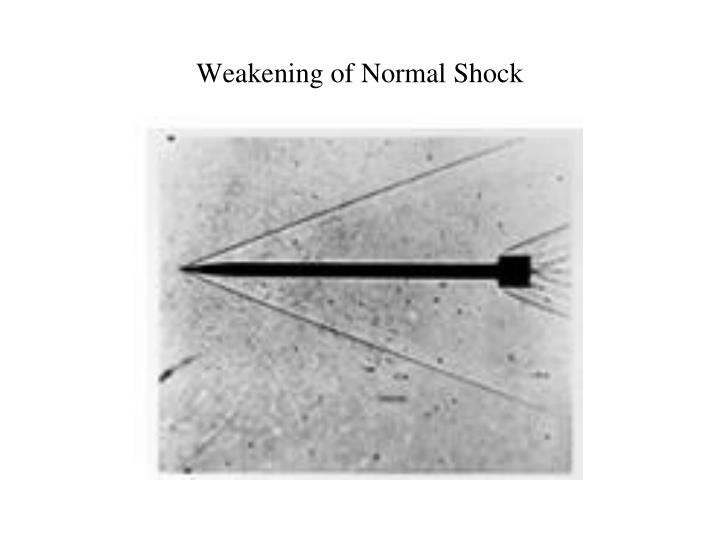 Weakening of Normal Shock