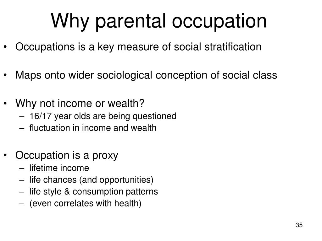 Why parental occupation