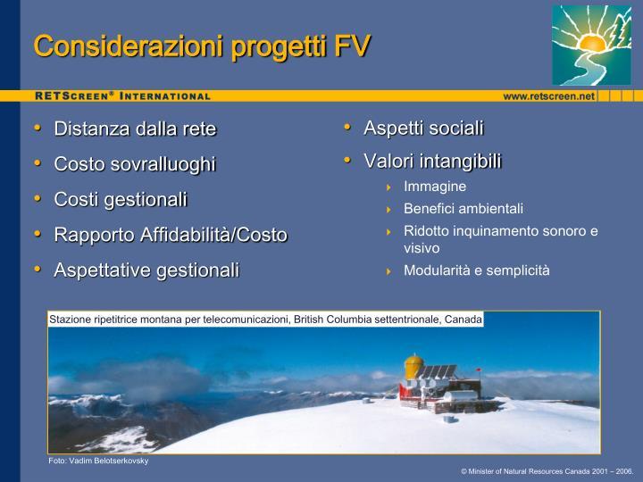 Considerazioni progetti FV