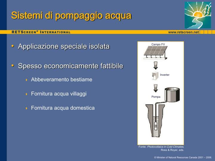 Sistemi di pompaggio acqua