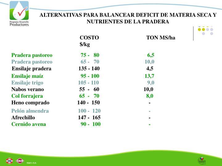 ALTERNATIVAS PARA BALANCEAR DEFICIT DE MATERIA SECA Y