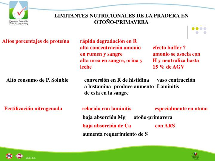 LIMITANTES NUTRICIONALES DE LA PRADERA EN OTOÑO-PRIMAVERA