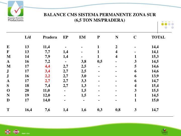 BALANCE CMS SISTEMA PERMANENTE ZONA SUR (6,5 TON MS/PRADERA)