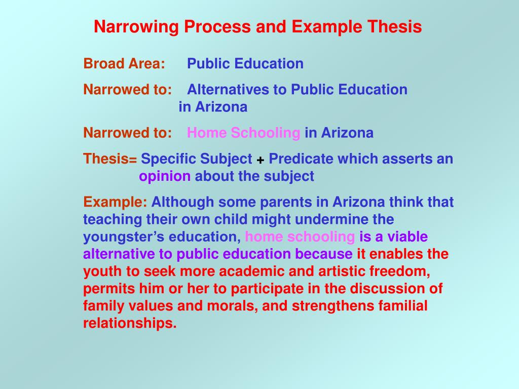 Narrowing Process and Example Thesis
