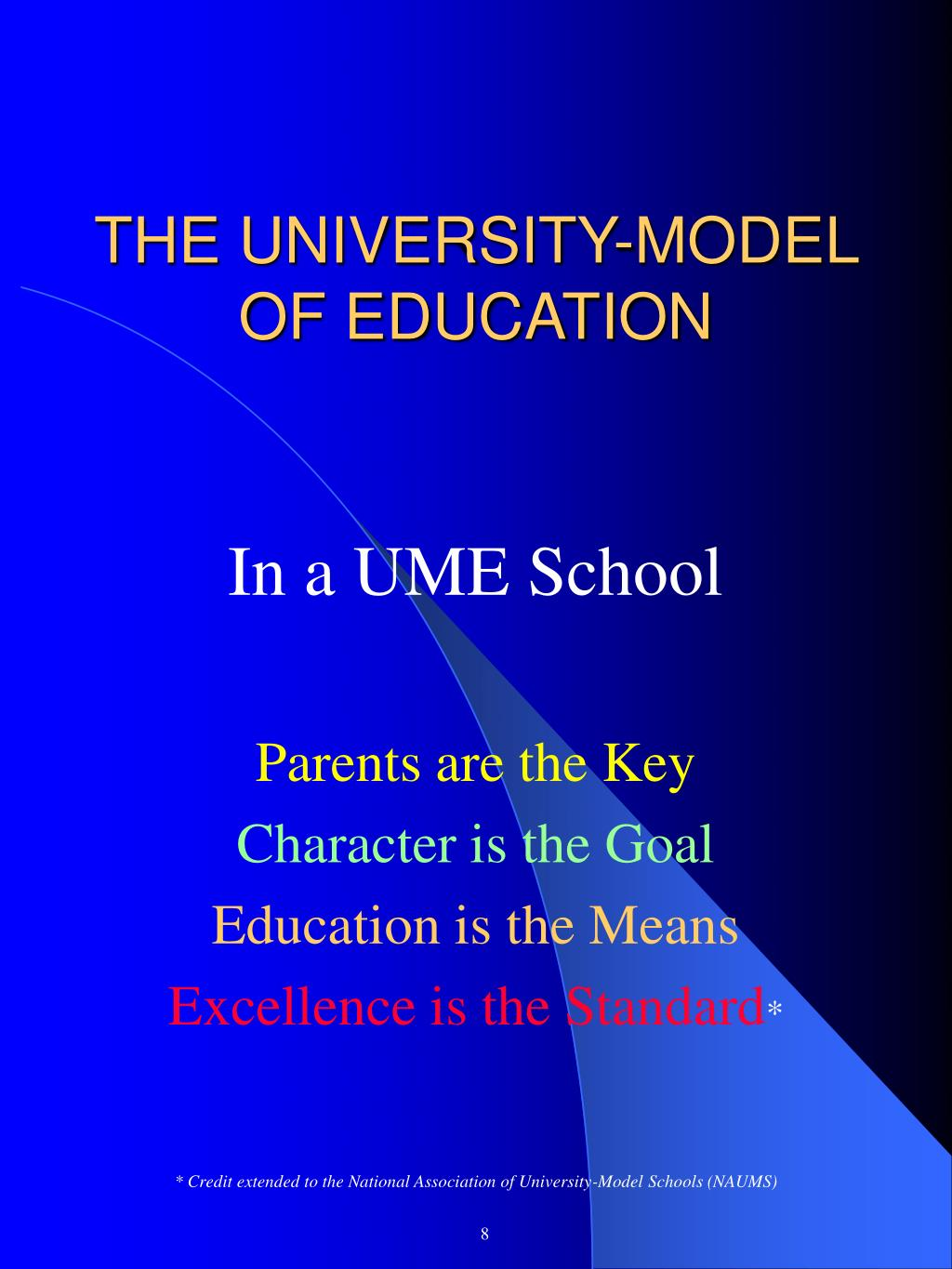 THE UNIVERSITY-MODEL OF EDUCATION