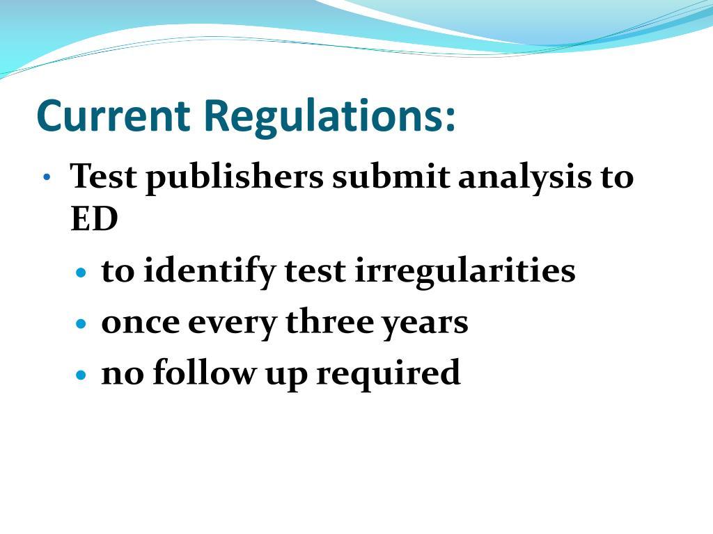 Current Regulations: