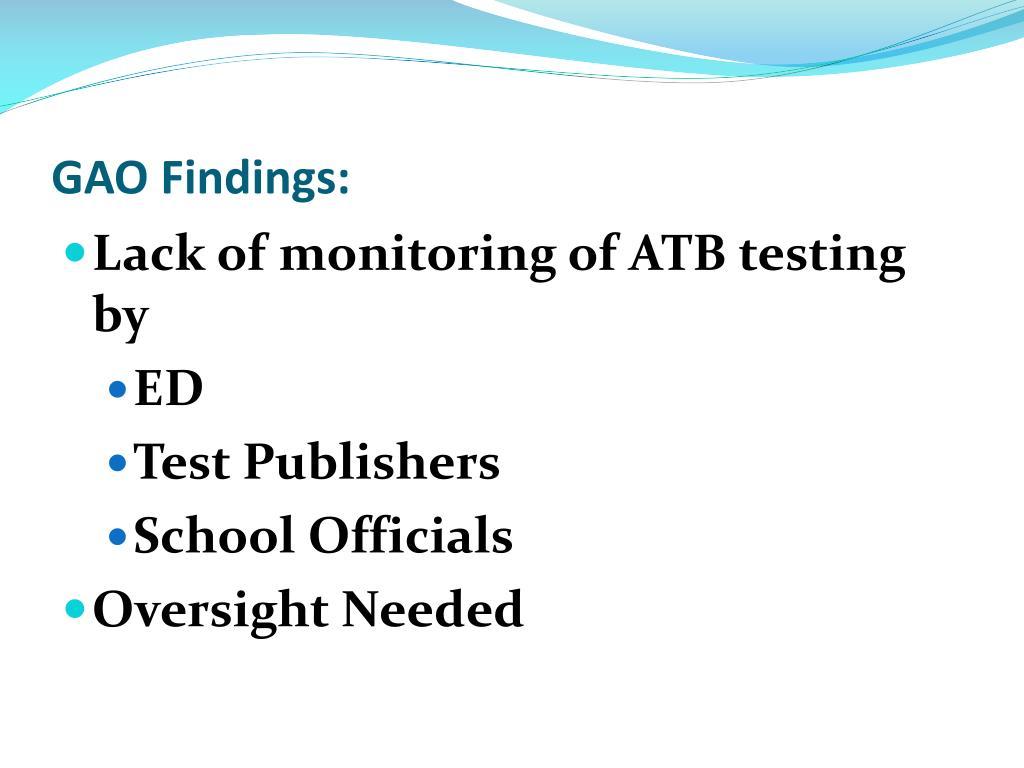 GAO Findings: