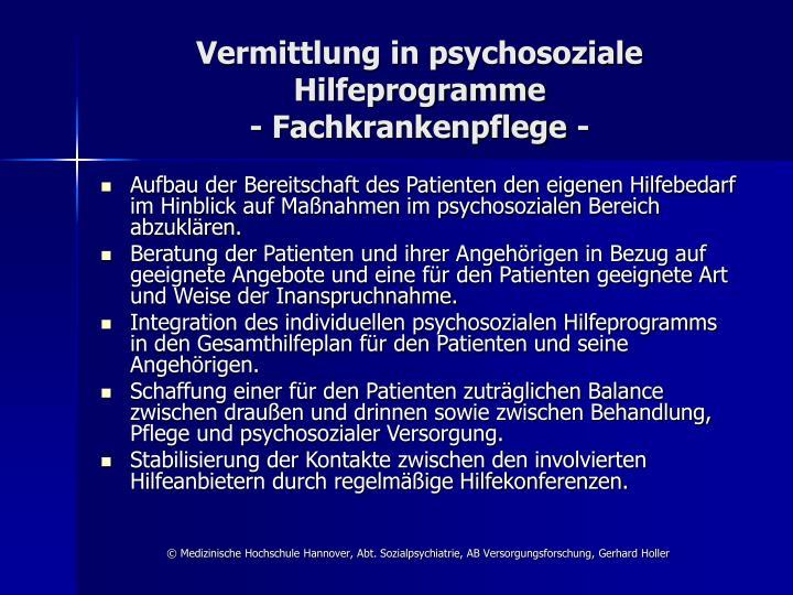 Vermittlung in psychosoziale Hilfeprogramme