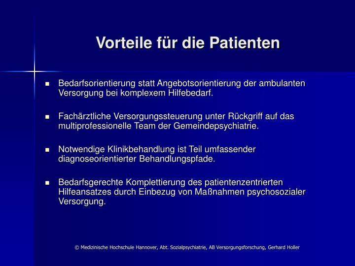 Vorteile für die Patienten